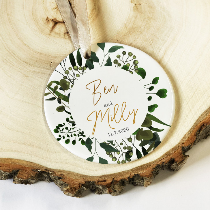 Personalised Botanical Design Ceramic Keepsake with Couples Names, Anniversary or Valentine's Day Gift
