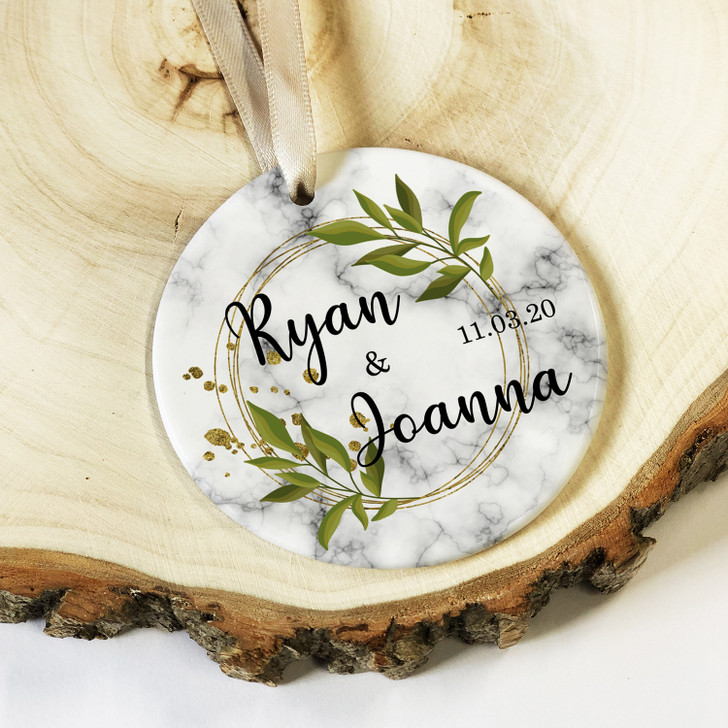 Personalised Anniversary Gift with Couples Names, Ceramic Round Decoration Ornament Keepsake