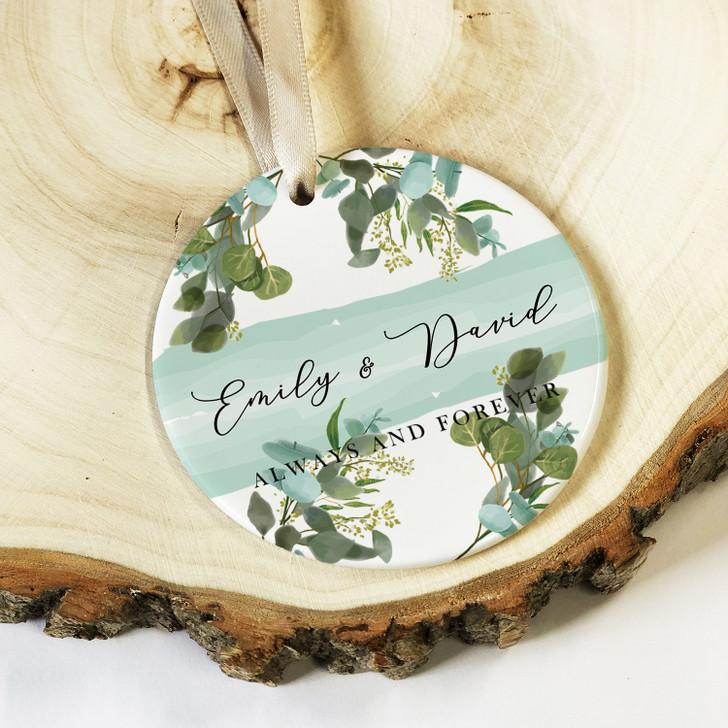 Personalised Botanical Design Ceramic Round Keepsake with Couples Names