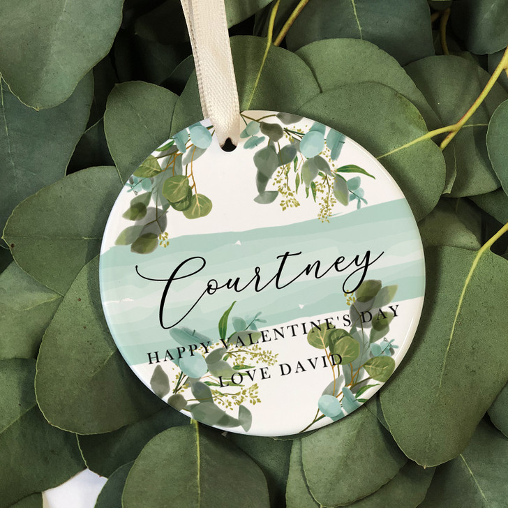 Personalised Botanical Valentine's Day Ceramic Round Keepsake, Hanging Decoration Gift