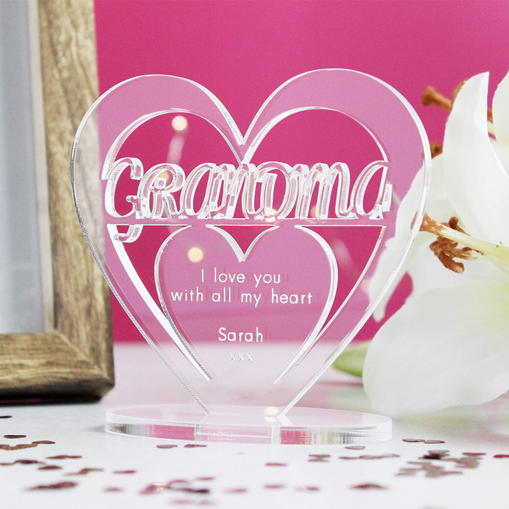 GRANDMA Personalised Birthday HEART Plaque Gift For Her Keepsake Ornament Christmas Present