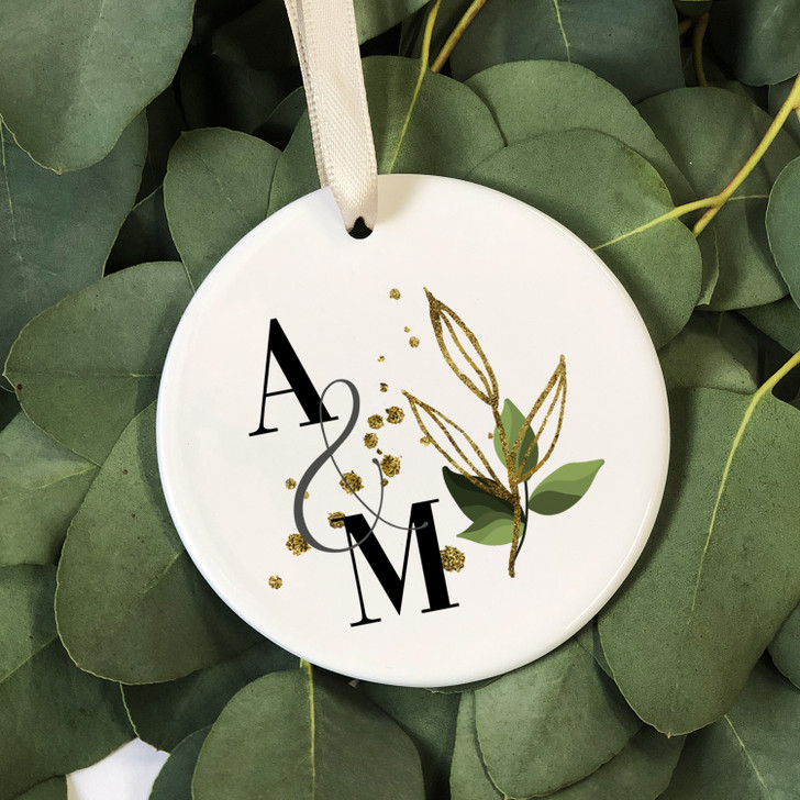 Personalised Ceramic Keepsake with Initials and Botanical Design, Anniversary Gift For HIM or HER