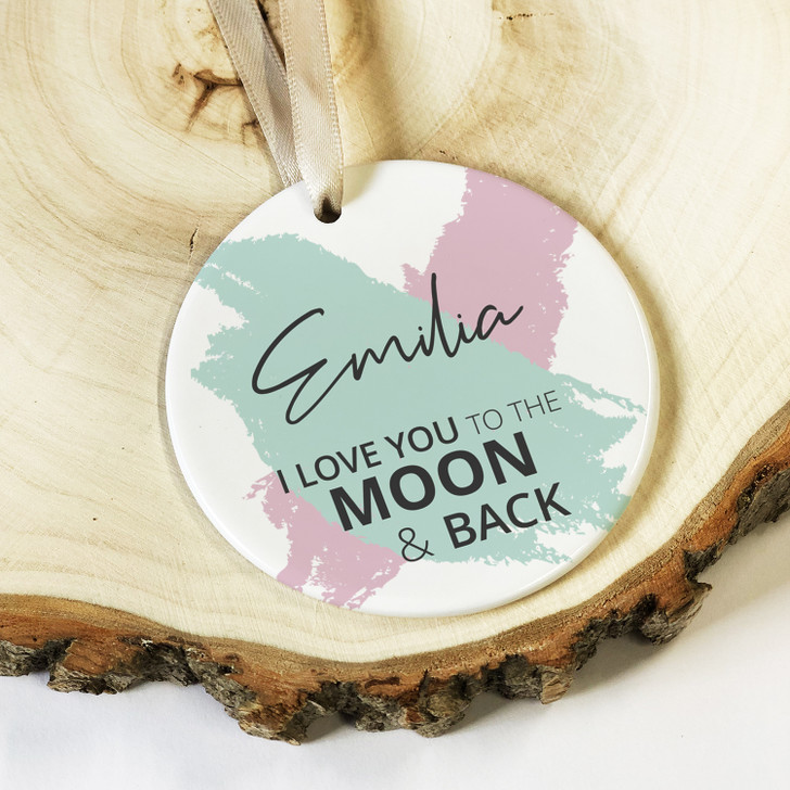Personalised I Love You To The Moon & Back Ceramic Keepsake Decoration, Valentine's Day or Anniversary Gift