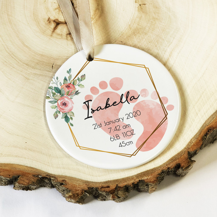 Personalised New Baby Boy or Girl Ceramic Keepsake Ornament with Weight, Length, Time and Date of Birth