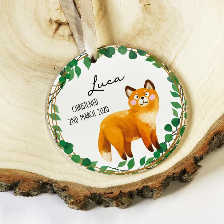 Personalised Baby Boy or Girl Ceramic Christening Keepsake Ornament Decoration with Fox Design