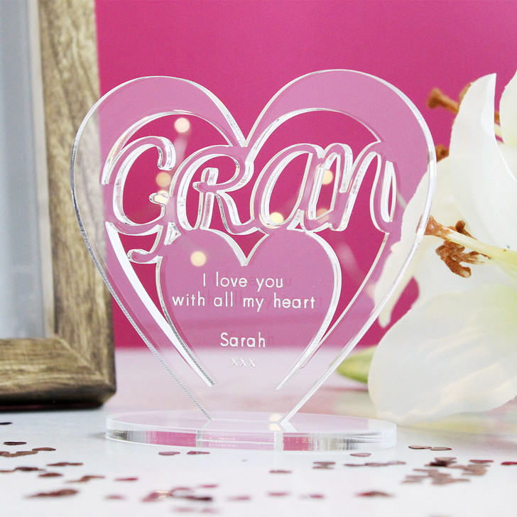 GRAN Personalised Birthday HEART Plaque Gift For Her Keepsake Ornament Christmas Present