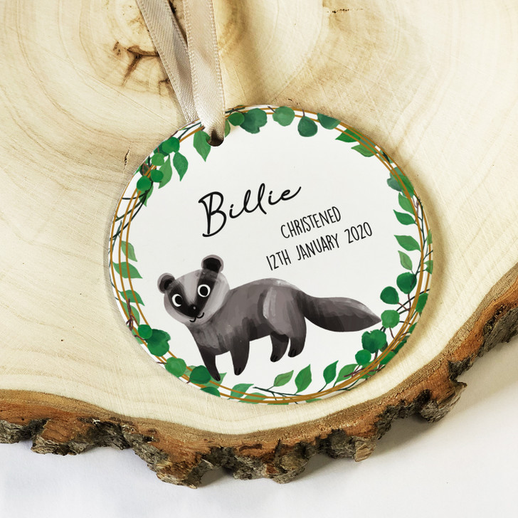 Personalised Baby Boy or Girl Ceramic Christening Keepsake Ornament Decoration with Badger Design