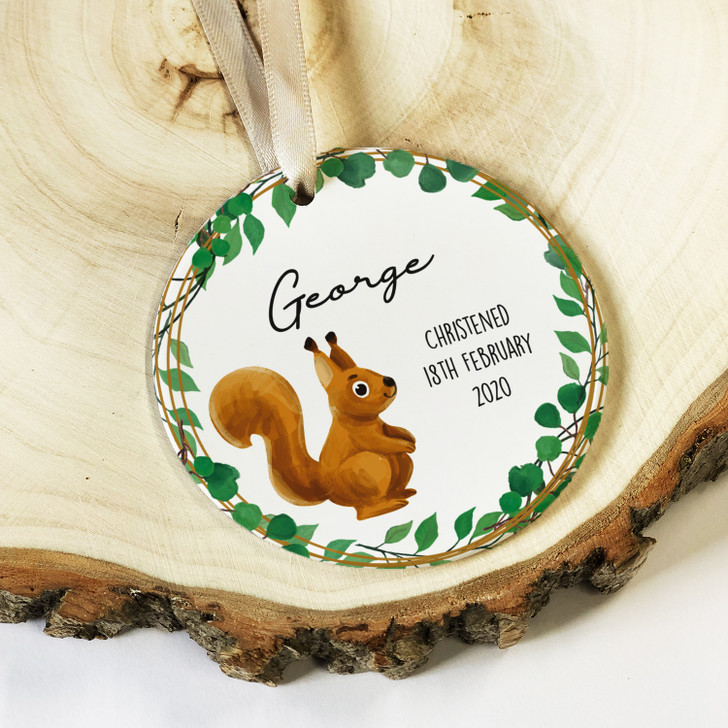 Personalised Baby Boy or Girl Ceramic Christening Keepsake Ornament Decoration with Squirrel Design