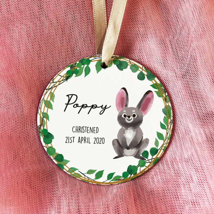 Personalised Baby Boy or Girl Ceramic Christening Keepsake Ornament Decoration with Bunny Rabbit Design