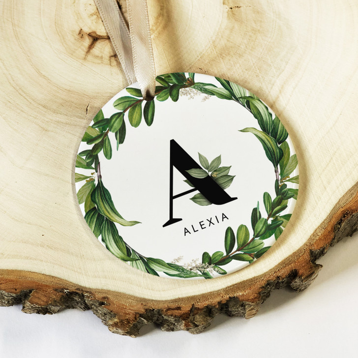 Personalised Name & Initial Botanical Ceramic Round Hanging Keepsake Decoration Gift