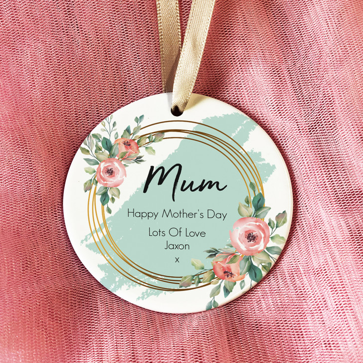 Personalised Floral Mother's Day Ceramic Round Keepsake, Hanging Decoration Gift