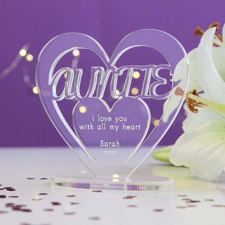 AUNTIE Personalised Birthday HEART Plaque Gift For Her Keepsake Ornament Christmas Present