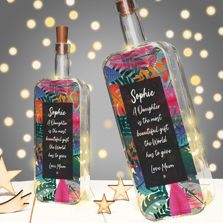 """Personalised Light Up Bottle Birthday Gift For Daughter """"A Daughter is the most beautiful gift the World has to give"""""""