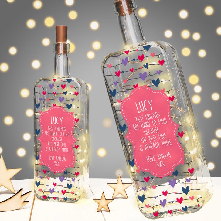 Personalised Light Up Bottle Birthday Gift For Best Friend, Bestie, BFF or Friend