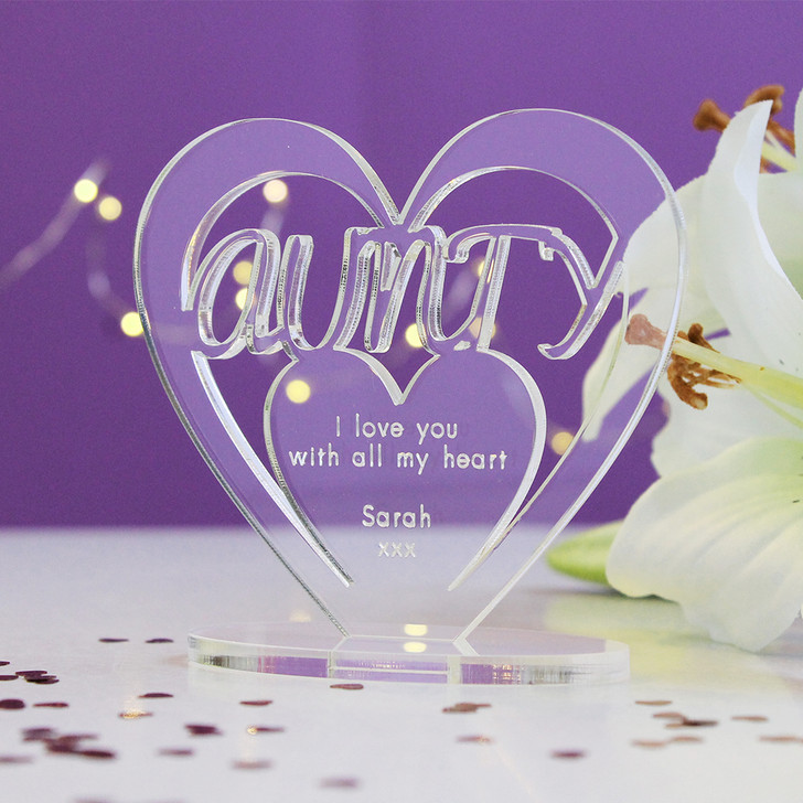 AUNTY Personalised Birthday HEART Plaque Gift For Her Keepsake Ornament Christmas Present