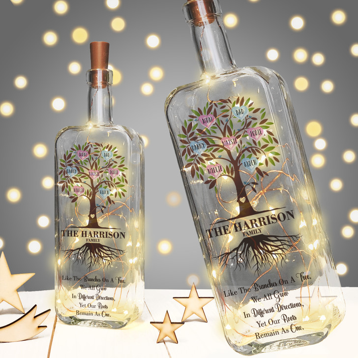 Personalised Light Up Family Tree Bottle Gift For Family and Parents, Personalise with Up To 16 Names
