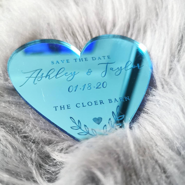 Blue Mirror Save The Date Personalised Heart Magnets