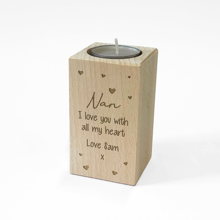Personalised Wooden Tealight Candle Holder For NAN, Birthday or Mother's Day Gift