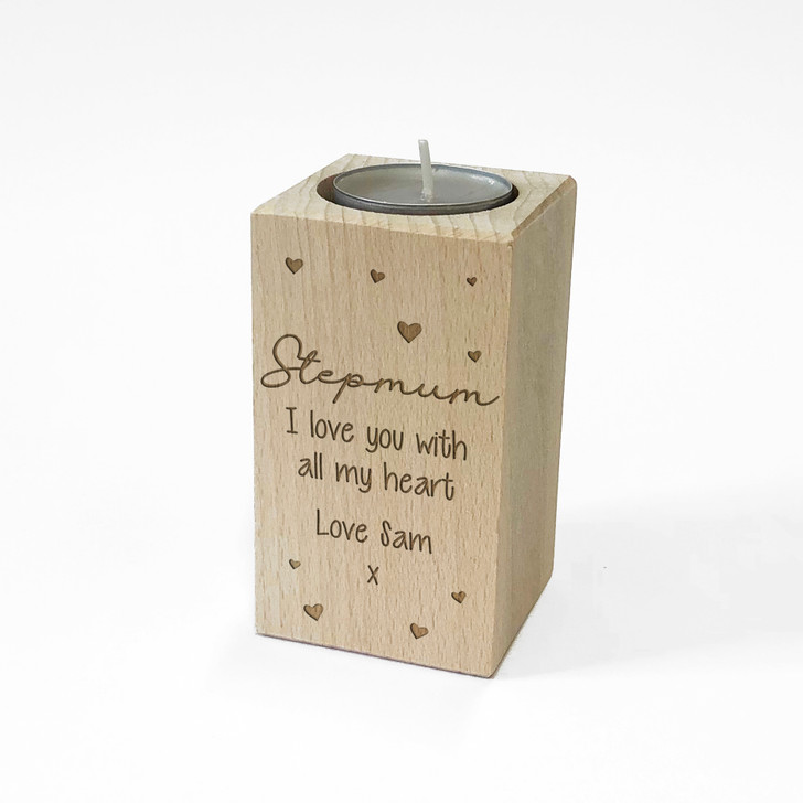 Personalised Wooden Tealight Candle Holder For STEPMUM
