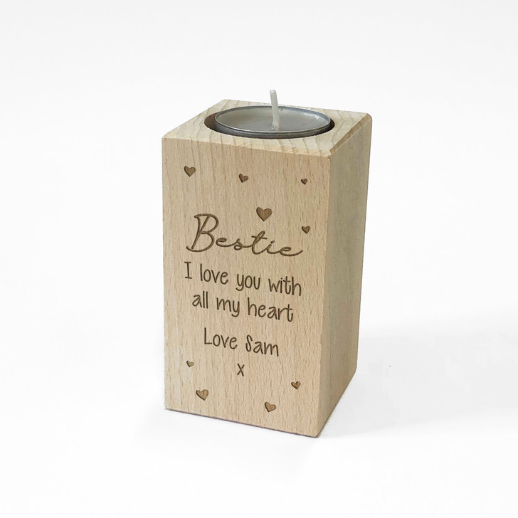 Personalised Wooden Tealight Candle Holder For BESTIE, Birthday Gift