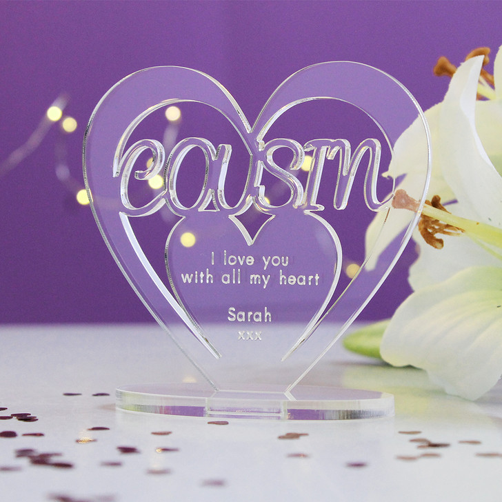 COUSIN Personalised Birthday HEART Plaque Gift For Her Keepsake Ornament Christmas Present
