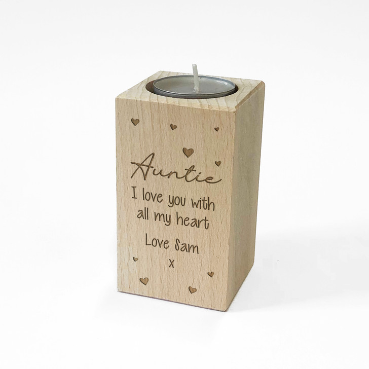 Personalised Wooden Tealight Candle Holder For AUNTIE, Birthday Gift