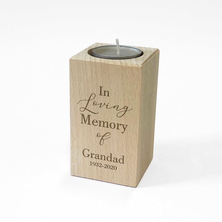"""Personalised Wooden Memorial Tealight Candle Holder, """"In Loving Memory Of"""" Remembrance Gift For Loved Ones"""