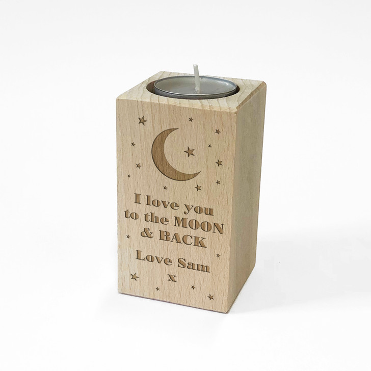 "Personalised Wooden Tealight Candle Holder ""I Love You To The Moon & Back"" Birthday or Christmas Gift"