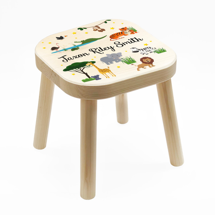 Personalised Children's Wooden Wild Animals Stool, Birthday or Christmas Gift For Kids