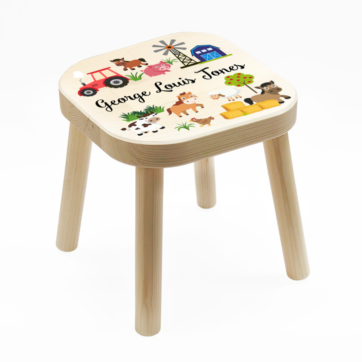 Personalised Children's Wooden Farm Animals Stool, Birthday or Christmas Gift For Kids