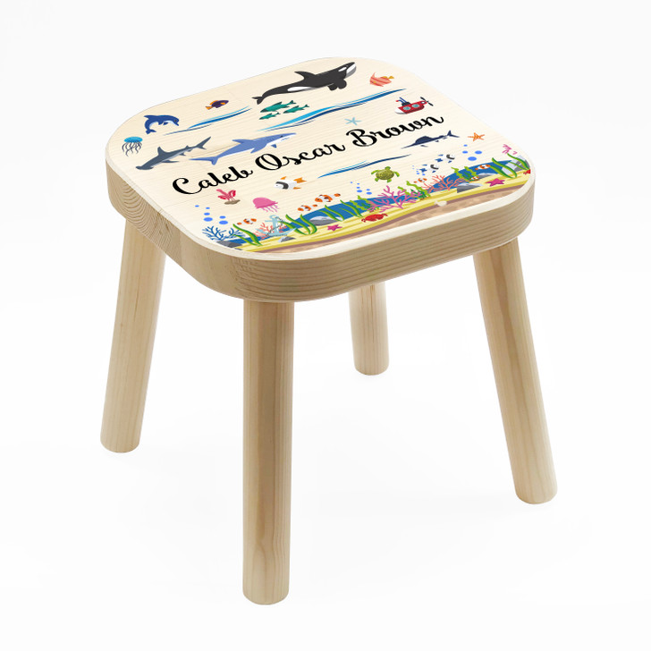 Personalised Children's Wooden Sea Creatures Stool, Birthday or Christmas Gift For Kids