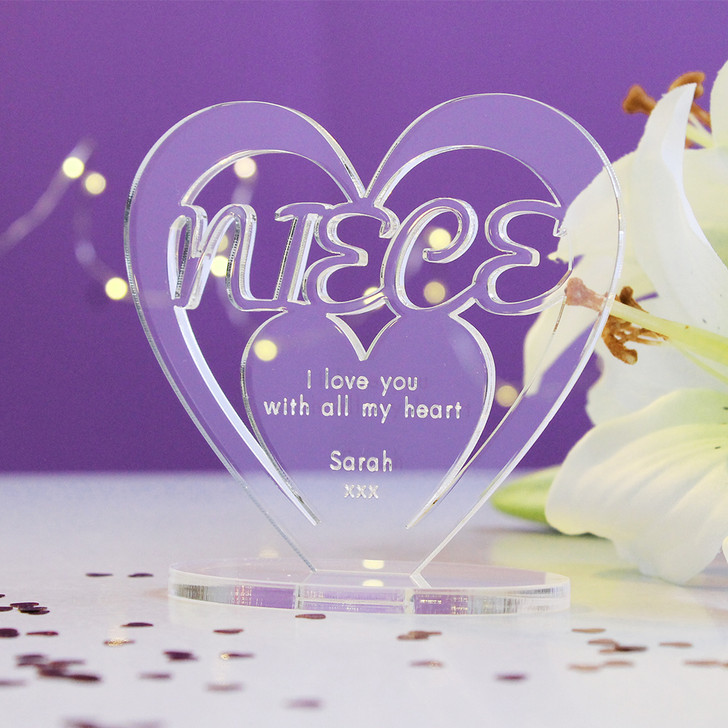 NIECE Personalised Birthday HEART Plaque Gift For Her Keepsake Ornament Christmas Present