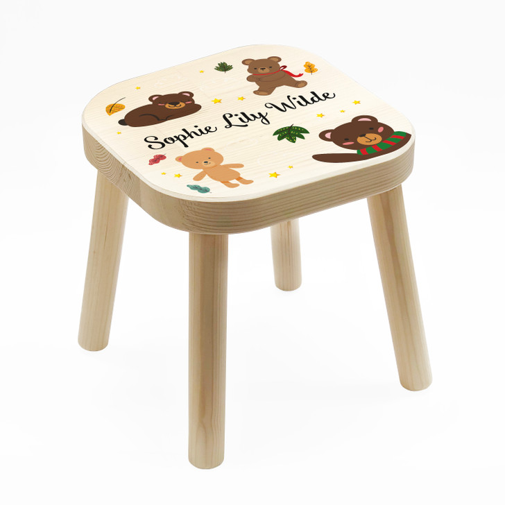 Personalised Children's Wooden Teddy Bear Stool, Birthday or Christmas Gift For Kids