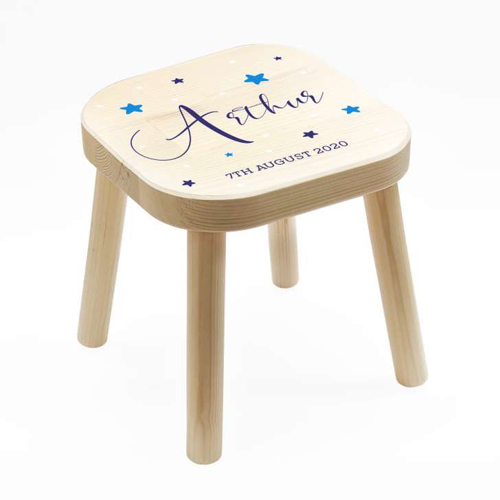 Personalised Blue Themed Kids Wooden Stool, Children's Birthday Gift