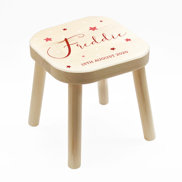 Personalised Red Themed Kids Wooden Stool, Children's Birthday Gift