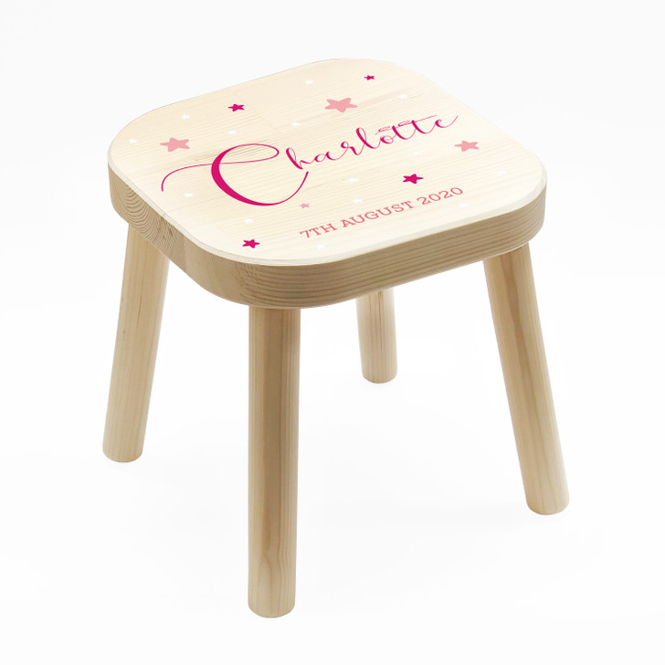 Personalised Pink Themed Kids Wooden Stool, Children's Birthday Gift