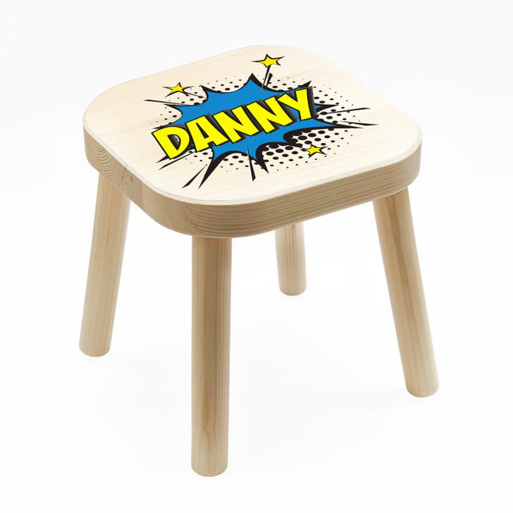 Personalised Blue Pop Art Comic Book Style Kids Wooden Stool, Birthday Gift For Children