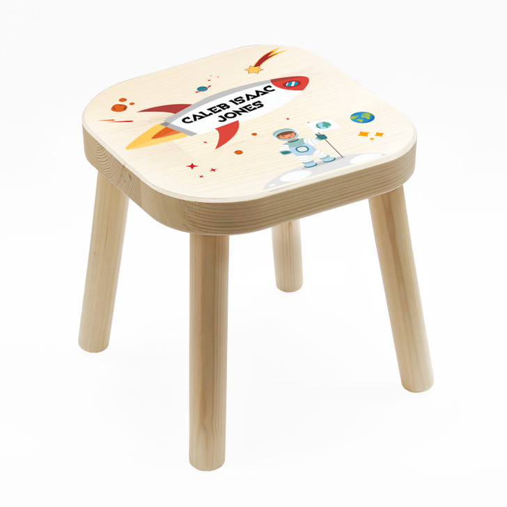 Personalised Children's Wooden Space Rocket Stool, Birthday or Christmas Gift For Kids