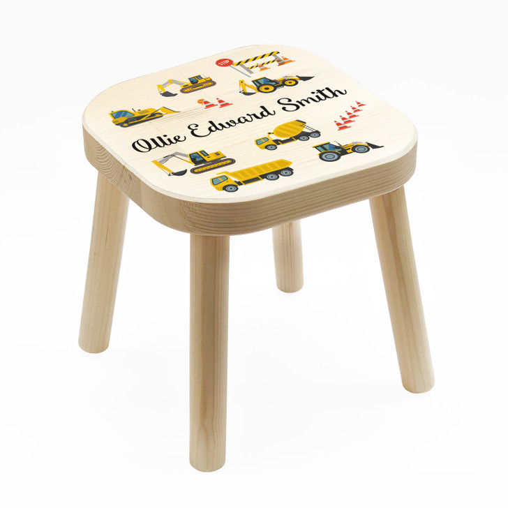 Personalised Children's Wooden Construction Trucks Stool, Birthday or Christmas Gift For Kids