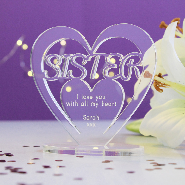 SISTER Personalised Birthday HEART Plaque Gift For Her Keepsake Ornament Christmas Present
