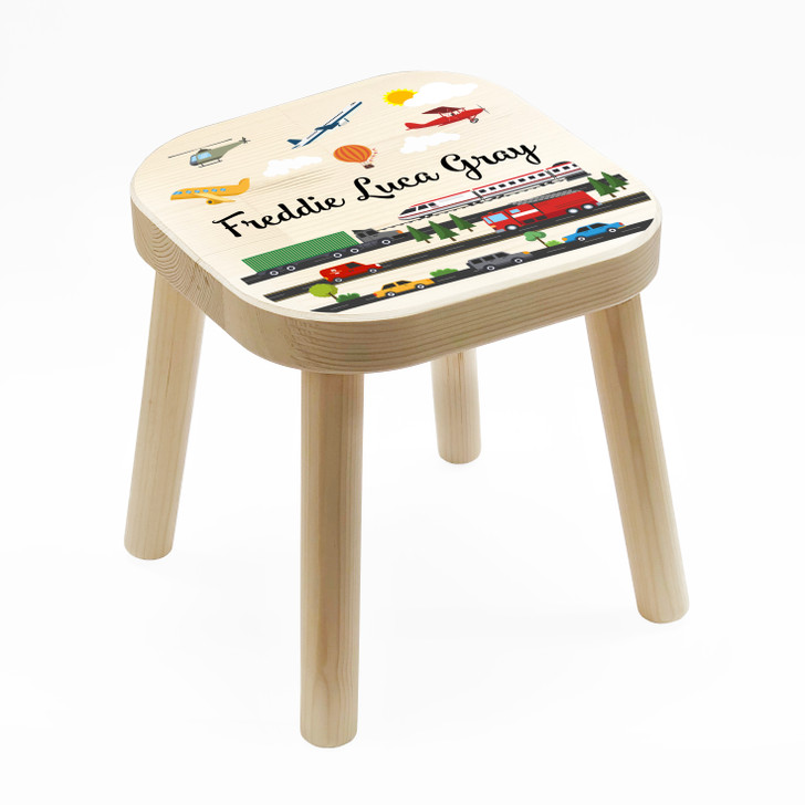 Personalised Children's Wooden Vehicles Stool, Birthday or Christmas Gift For Kids