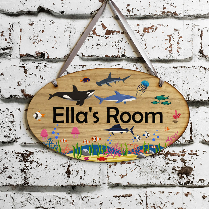 Personalised Kids Sea Creatures Bedroom Door Sign - Under The Sea Children's Room Door Plaque