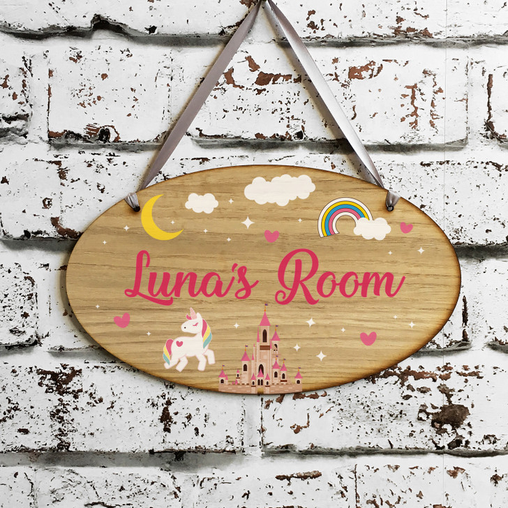 Personalised Kids Unicorn & Rainbow Bedroom Door Sign - Children's Room Door Plaque