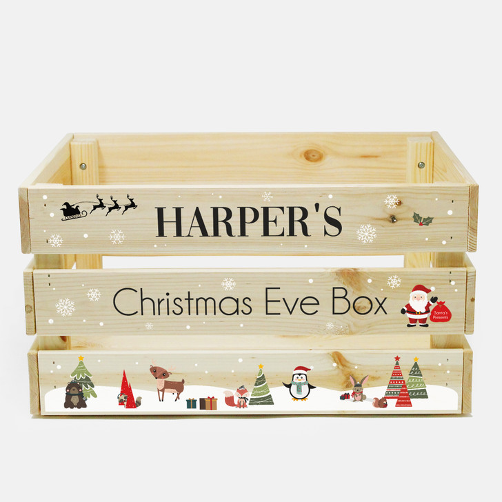 Personalised Large Children's Christmas Eve Crate, Wooden Christmas Eve Box For Kids