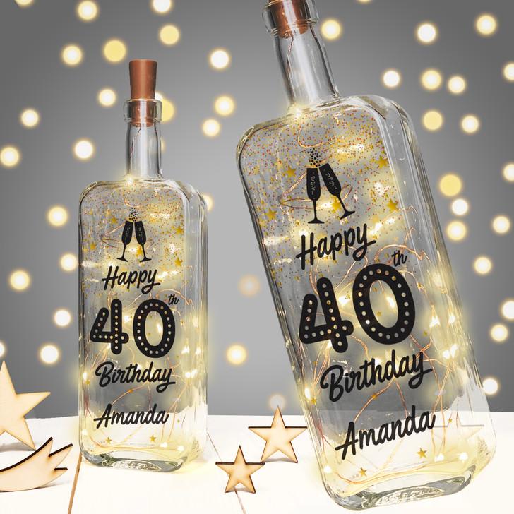 Personalised Light Up Bottle Milestone Birthday Gift - 16th 18th 21st 30th 40th 50th 60th 70th 80th 90th