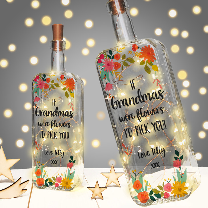 If Grandmas Were Flowers I'd Pick You! Personalised Light Up Bottle Mother's Day or Birthday Gift For Grandma