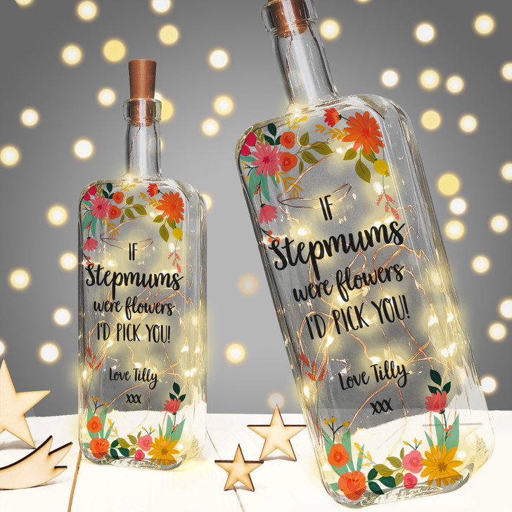 If Stepmums Were Flowers I'd Pick You! Personalised Light Up Bottle Mother's Day or Birthday Gift For Step Mums
