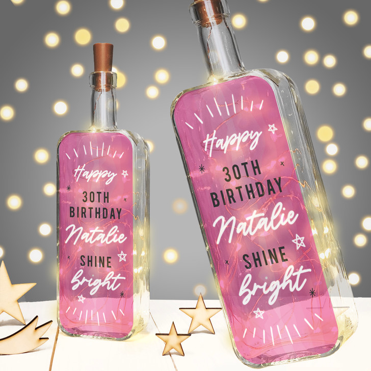 "Personalised Light Up Bottle ""Shine Bright"" Birthday Milestone Gift In Pink"