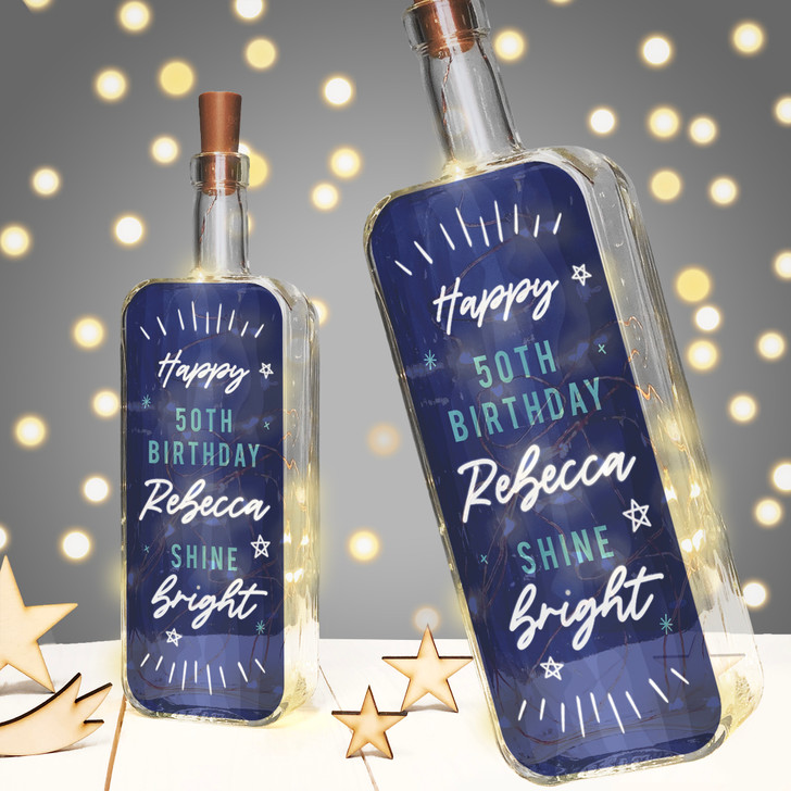 "Personalised Light Up Bottle ""Shine Bright"" Birthday Milestone Gift In Blue"