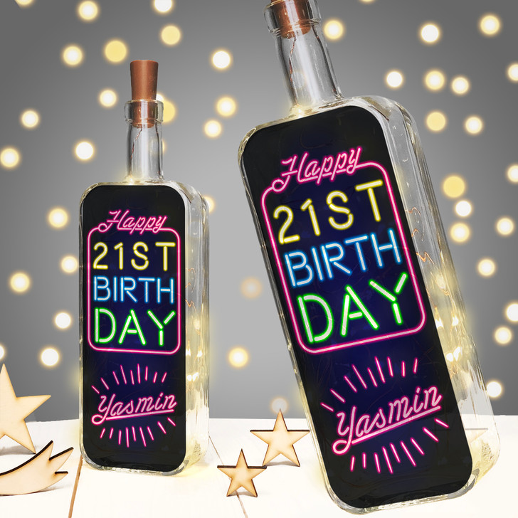 Personalised Birthday Milestone Light Up Bottle Gift With Neon Style Lettering - 16th, 18th, 21st, 30th, 40th, 50th